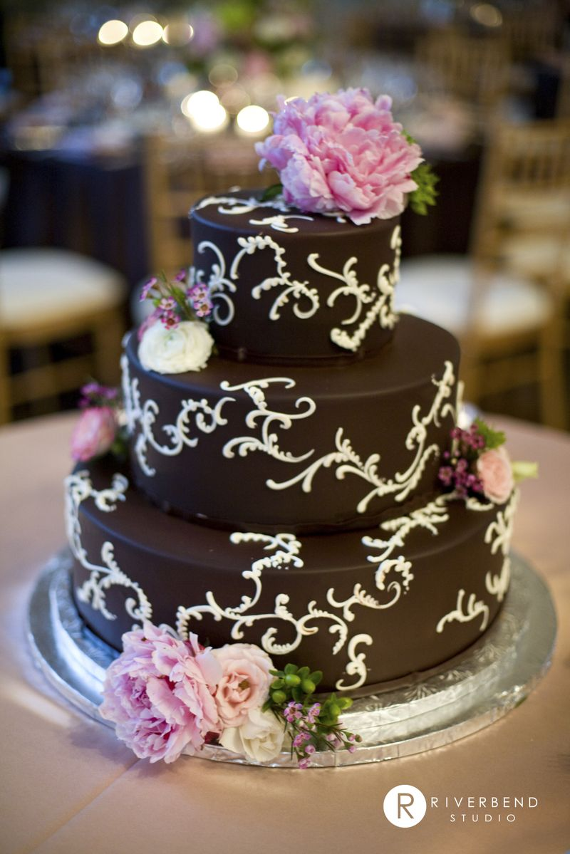 Chocolate and White Cake with Peonies