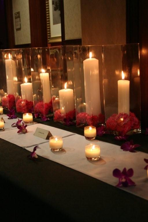 Carnations and Candles Place Card Table