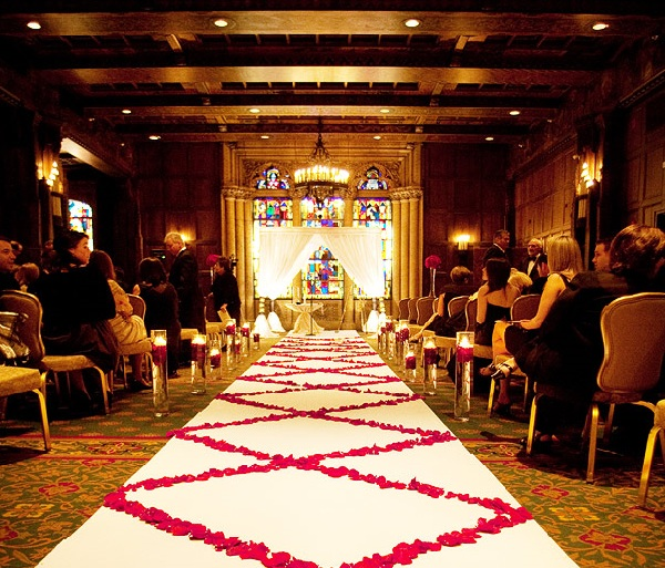 Hotel Intercontinental Wedding Chicago - Chuppah - Rose Petal Runner