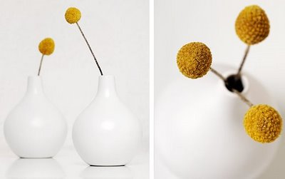 Craspedia teardrop vase arrangement