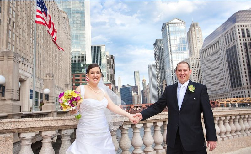 Chicago Wedding - Bride and Groom - Magnificent Mile