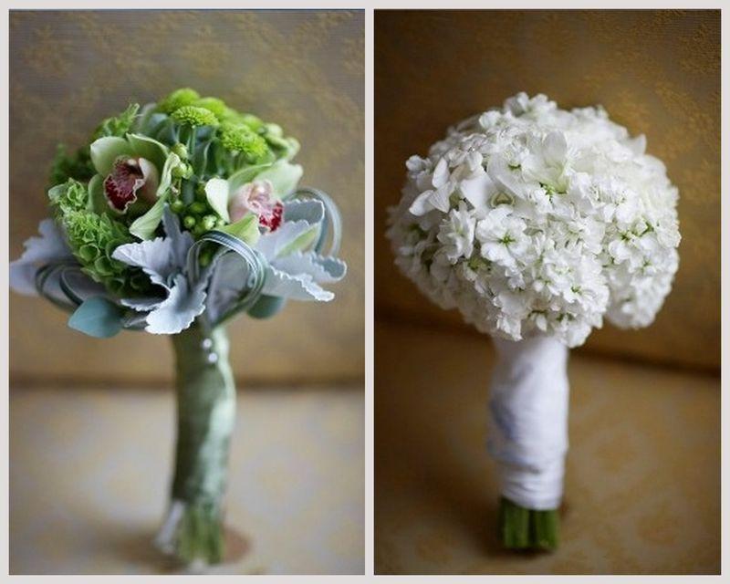 White Stock Bridal Bouquet_Green Cymbidium Bridesmaid Bouquet_Scarlet Petal