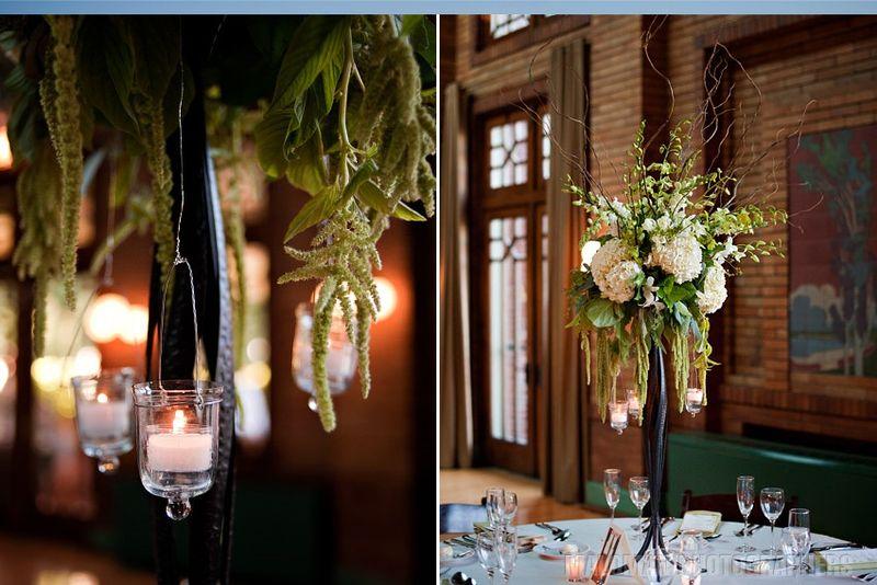 White Hydrangea Centerpiece_Hanging Votives_Scarlet Petal Weddings
