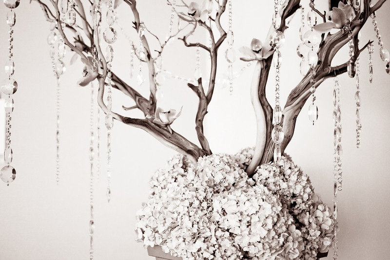 Escort Card Table - Manzanita Tree - Hanging Crystals