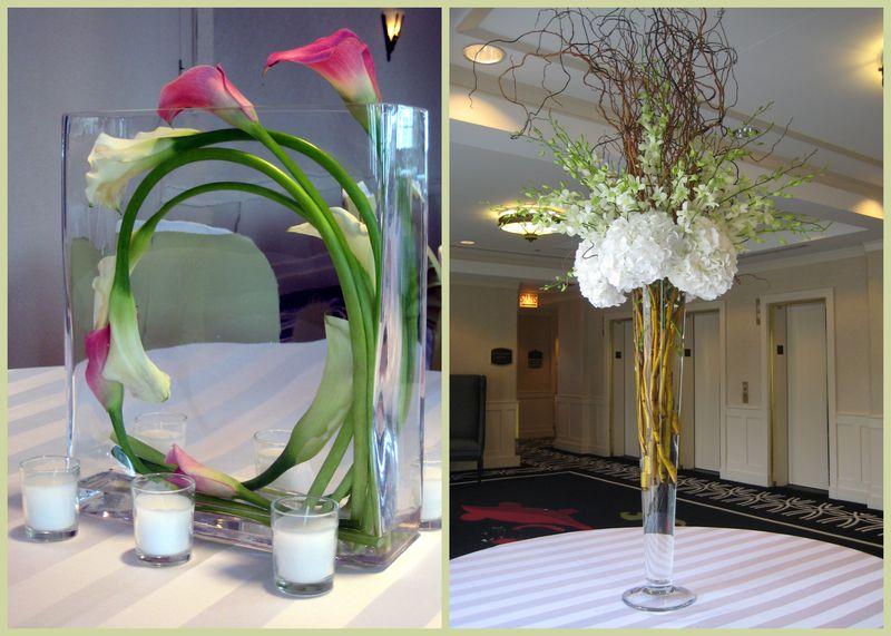 Wound Calla Centerpiece - Hydrangea Dendrobium Orchid Willow Centerpiece - Scarlet Petal