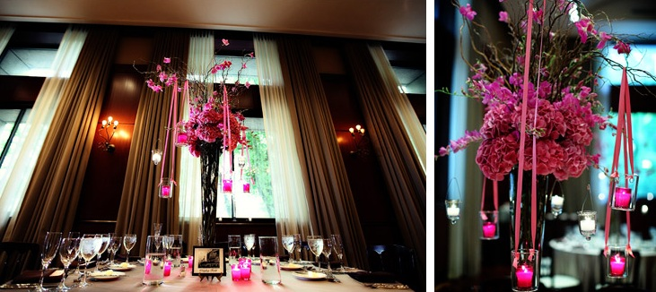Fuchsia Dendrobium Orchid Centerpiece - Hanging Votives - Newberry Library