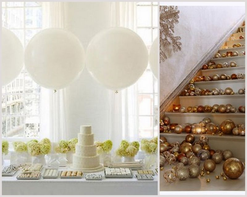 Winter Wonderland Wedding_White Balloons_Gold Ornaments