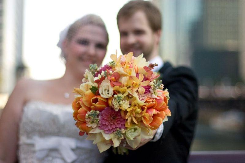 Bridal Bouquet - Dahlia Bouquet - Fuchsia and Orange Bouquet