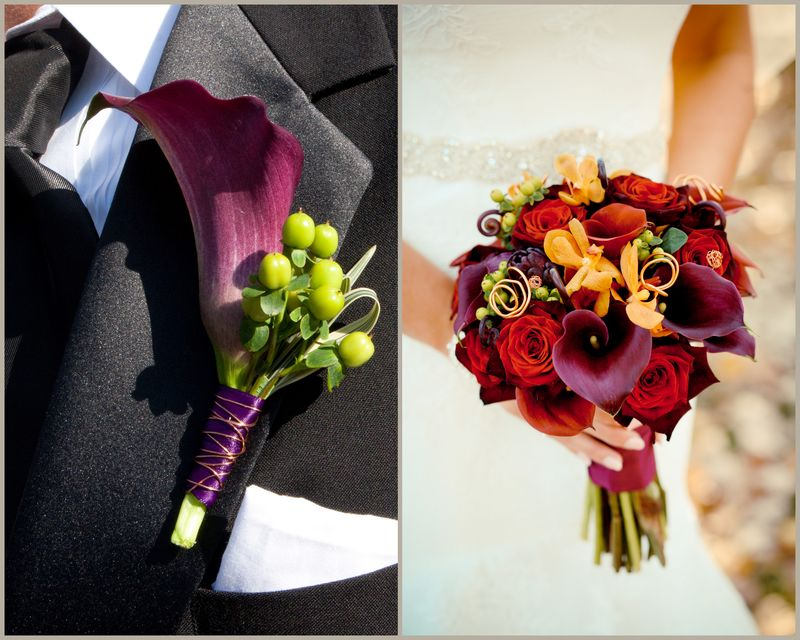 Burgundy Calla and Rose Bouquet_Scarlet Petal Wedding