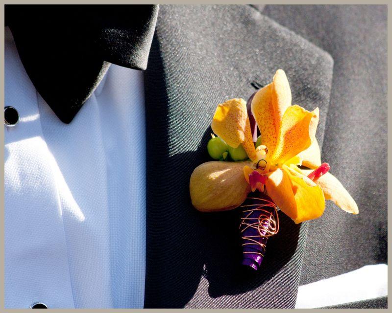 Orange Mokara Orchid Boutonniere_Scarlet Petal Weddings