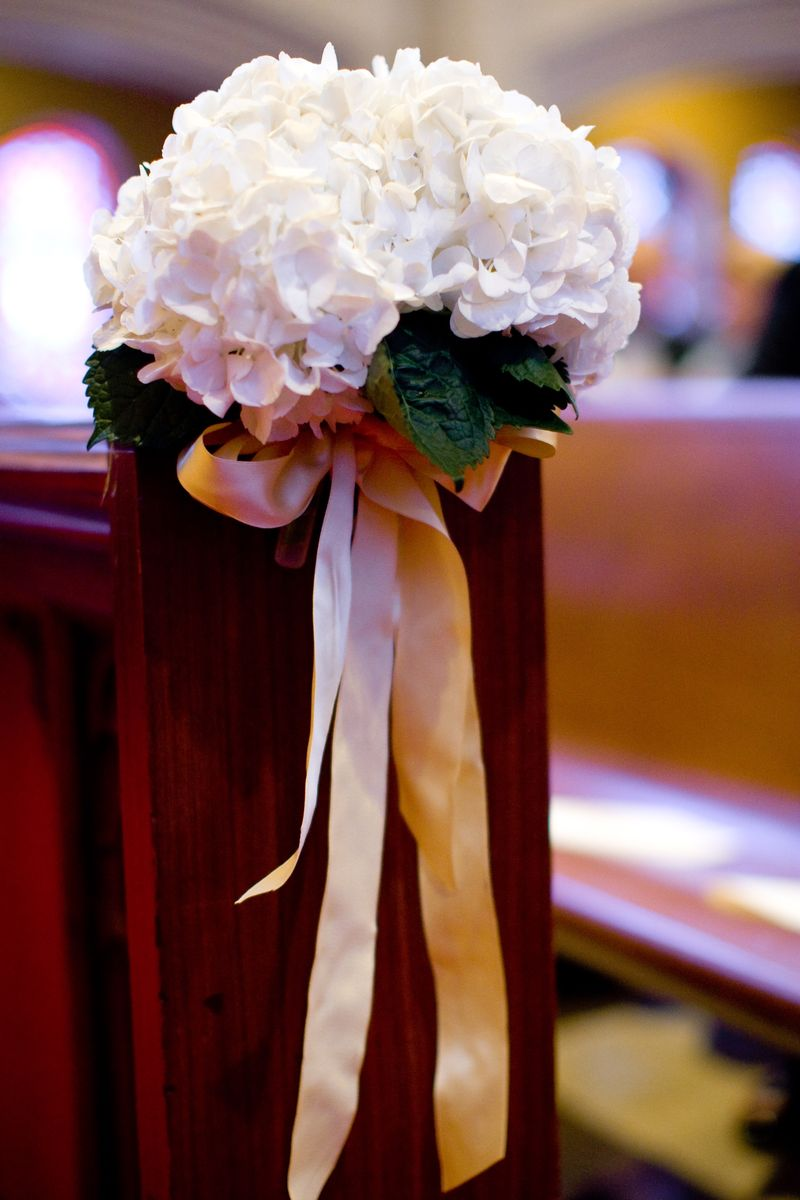 White Hydrangea Church Pew Accent_Scarlet Petal