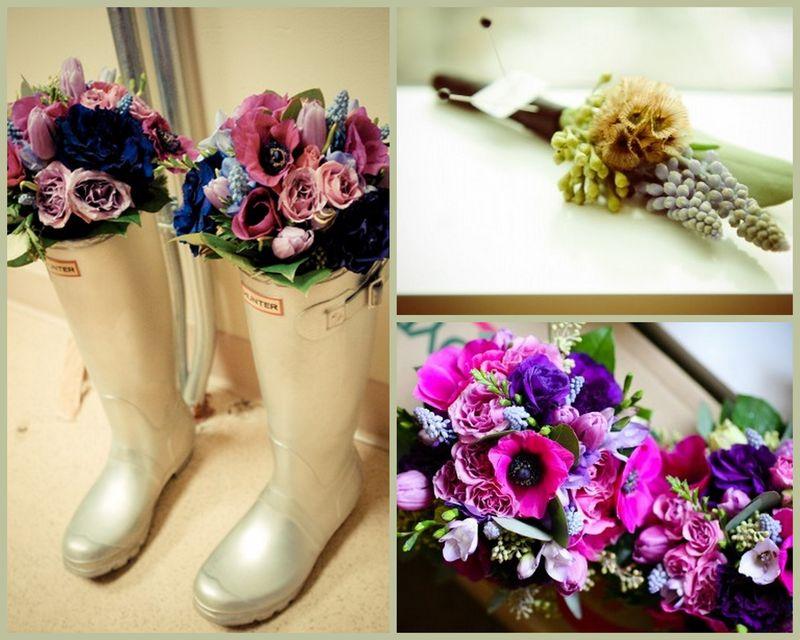 Purple Anemone Bouquet_Scabiosa Pod Boutonniere_Scarlet Petal