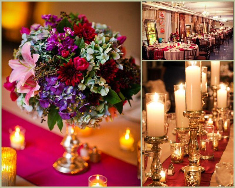 Burgundy_Purple_Green Hydrangea Centerpiece_Mercury Glass_Scarlet Petal