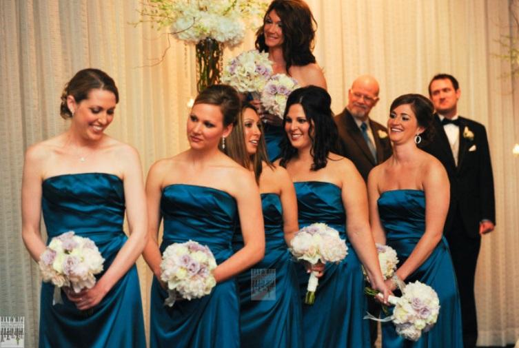 Navy Bridesmaid Dress and White Flowers_Scarlet Petal Weddings