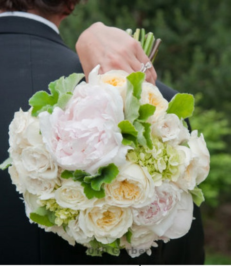 White Peony and Garden Rose Bouquet
