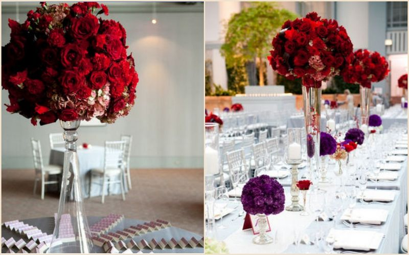 Feasting Table_Red Rose Carnation Arrangements_Purple Pomander_Scarlet Petal_Harold Washington Library