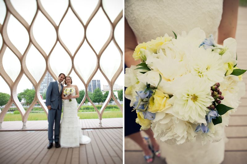 White Yellow and Blue Bridal Bouquet_Scarlet Petal