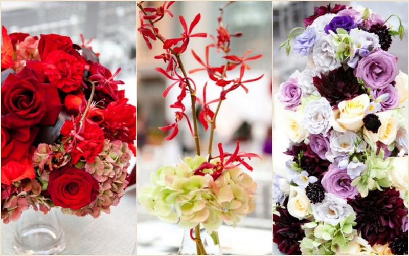 Purple Wedding Cake_Red Orchids, Red Rose Hydrangea Hydrangea_Harold Washington Library Wedding_Scarlet Petal