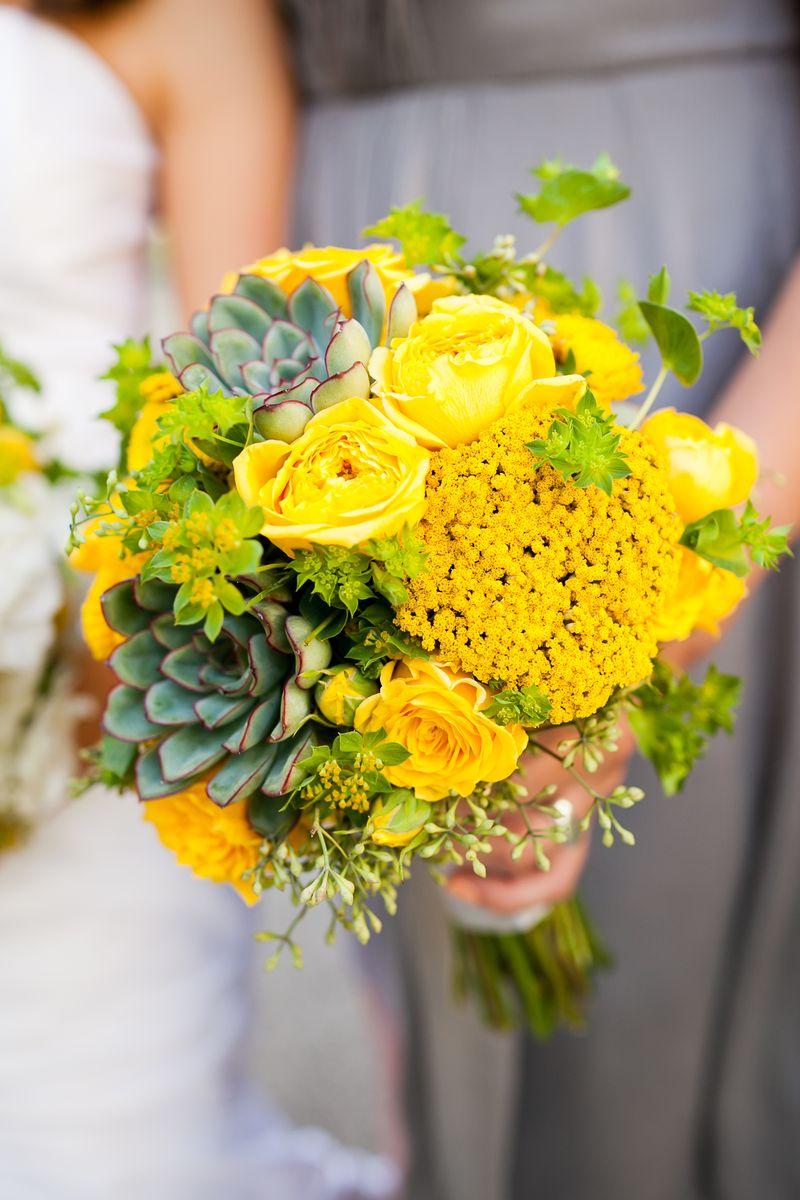 Yellow Bridesmaid Bouquet_Succulent_Scarlet Petal