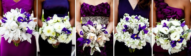 White and Purple Bouquets_Bridesmaids_Scarlet Petal Wedding