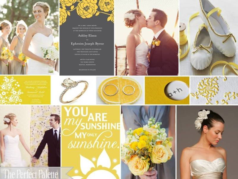 Yellow and Grey Wedding Board Scarlet Petal