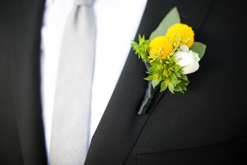 Yellow Craspedia_Billy Ball Boutonniere_Scarlet Petal