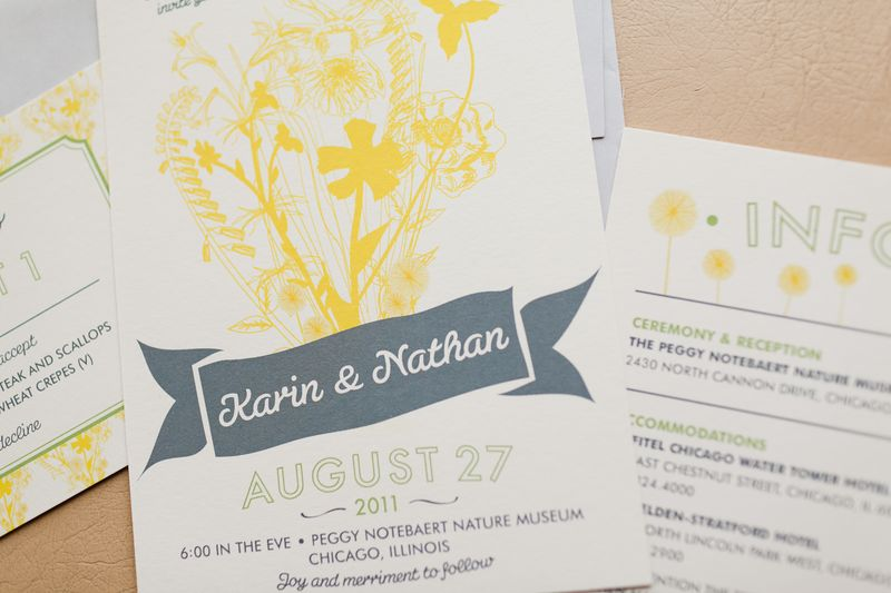 Yellow and Grey Wedding Invitation