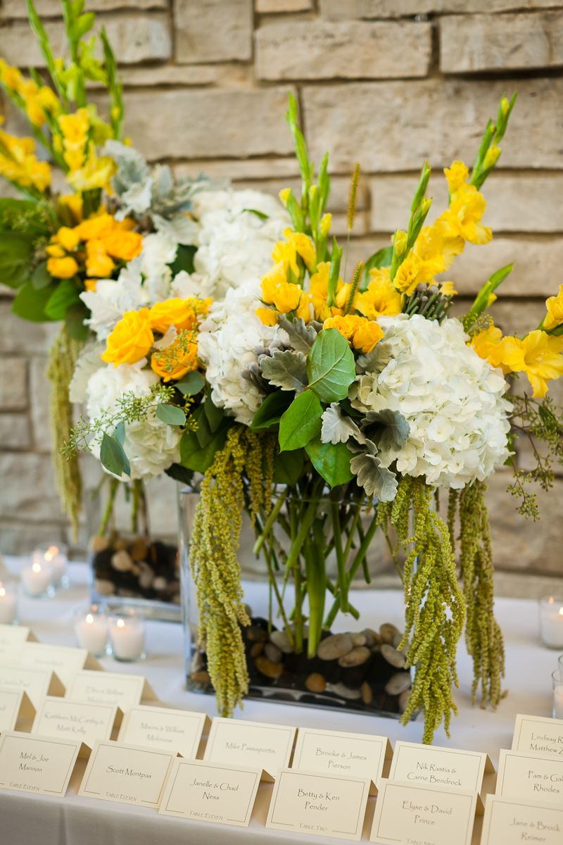 Yellow and White Escort Card Table_Scarlet Petal