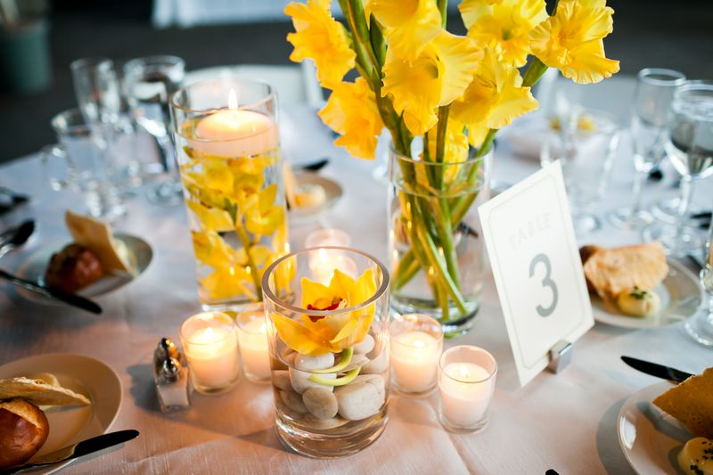 Yellow Centerpiece_Submerged Orchids_Scarlet Petal Weddings