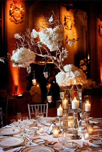 White Hydrangea and Manzanita Branch Centerpiece Scarlet Petal 2