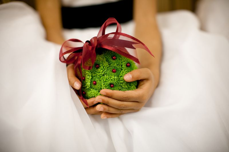Flower Girl Green Pomander Ball_Scarlet Petal