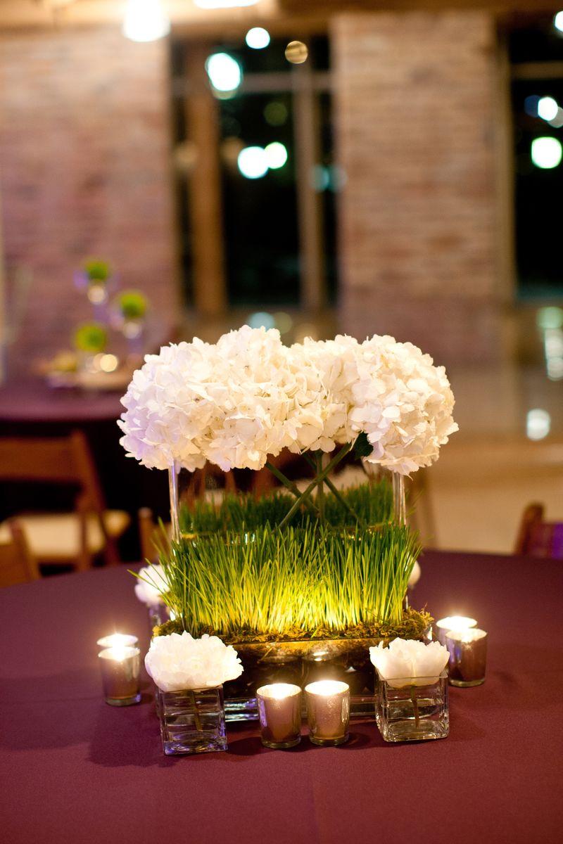 Modern White Hydrangea Centerpiece_Scarlet Petal