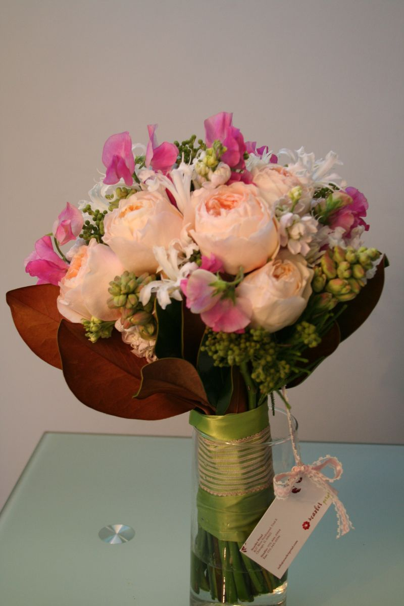 Peach Garden Rose Bouquet 2