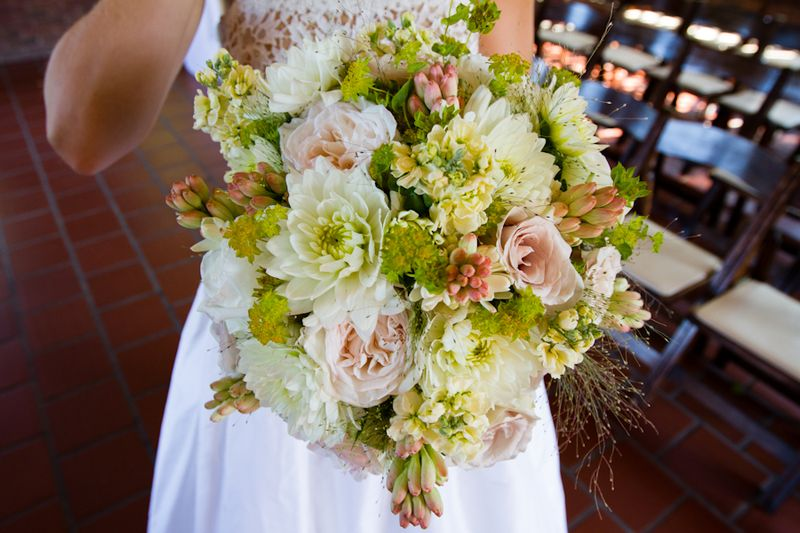 Blush Rose White Dahlia Bridal Bouquet Scarlet Petal