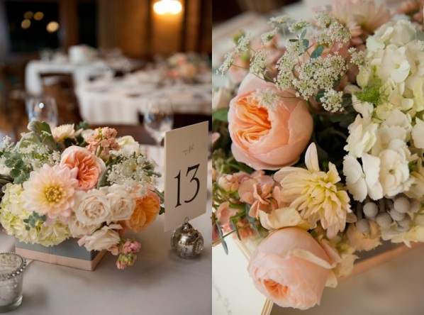 Peach Blush Garden Rose Centerpiece Scarlet Petal