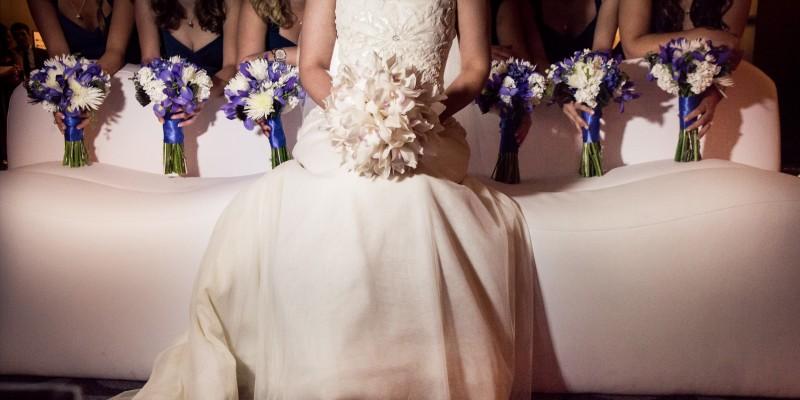 Blue and White Bridesmaids Bouquet _ Scarlet Petal