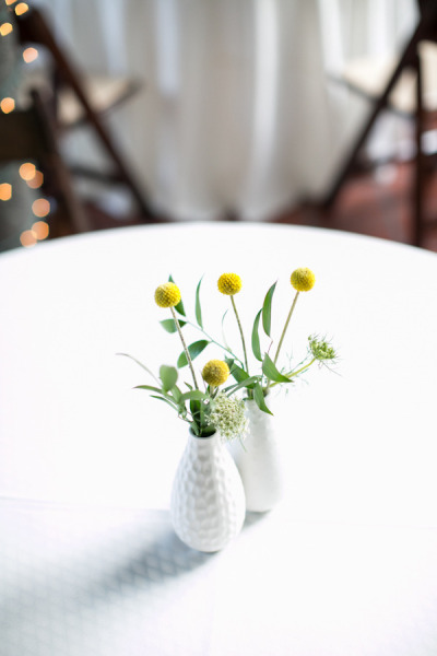 Yellow and White Cocktail Table Arrangement _ Scarlet Petal _ Cafe Brauer