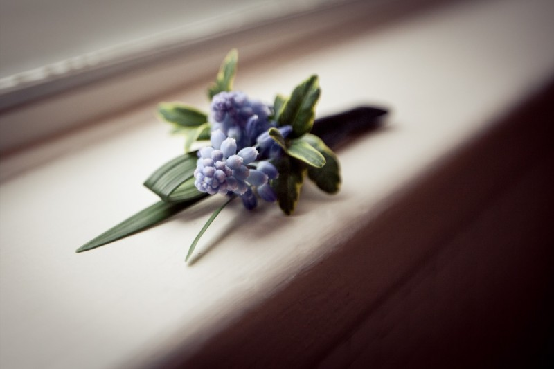 Blue Grape Hyacinth Boutonniere _ Scarlet Petal