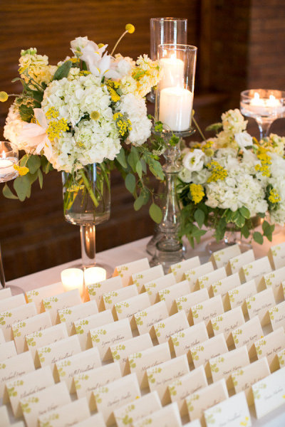 Yellow Flower Mercury Glass Escort Card Table Wedding_Scarlet Petal