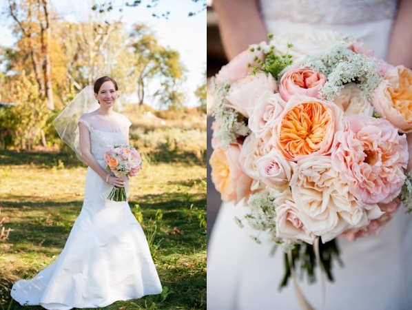 Peach Blush Garden Rose Bridal Bouquet Scarlet Petal