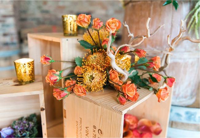 Roses and Pin Cushion Protea